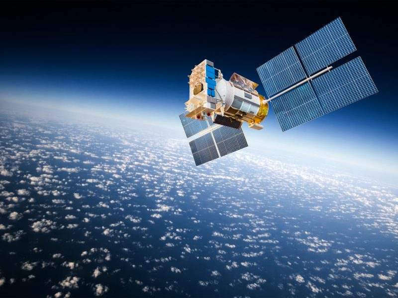 Space satellite orbiting the earth